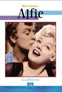 "The movie poster for ""Alfie"" with Michael Caine and Shelley Winters."