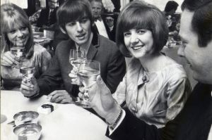 A toast to success: Cilla launches her career with (l-r) Patti Boyd, George Harrison and (far right) the Beatles' manager Brian Epstein. (Photo: Express Newspapers)
