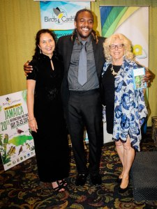 "(l-r) BirdsCaribbean Executive Director Dr. Lisa Sorenson; entertainer and environmental advocate ""Bay-C""; and Chair of the Local Organizing Committee, conservationist Dr. Ann Sutton, at the closing banquet. (Photo:"