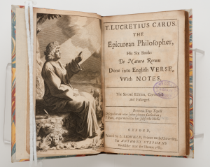 """A 17th-century English translation of """"De Rerum Natura"""" (On the Nature of Things) printed in Oxford."""
