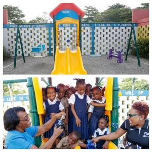 Student at Port Maria Infant School with their lovely playground donated by Flow. (Photo: Twitter)