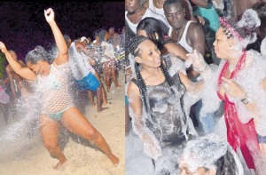 "A ""Soakin' Wett"" water party in Negril sponsored by JB Overproof Rums. (Photo: Jamaica Observer)"