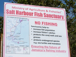 The Salt Harbour Fish Sanctuary sign at Welcome Beach.