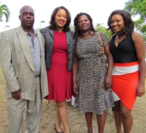 Tenesha Myrie (second left) with her parents and sister Ameka, who is also starting her Master's in Environmental Studies at the University of the West Indies. (My photo)