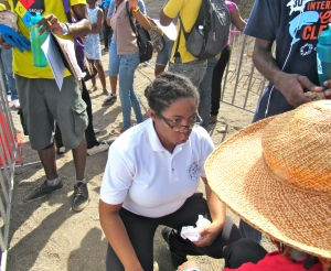 The St. John Ambulance was there. They were a reassuring presence, as one volunteer who was an asthmatic needed help. This St. John representative helped her to breathe.