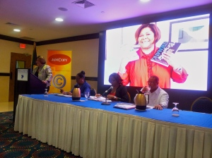 Dr. Marcia Forbes, an online pioneer in Jamaica, speaks at the launch. (My photo)