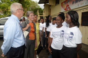 Participants in the WROC summer camp this year talk to Minister of Education Rev. Ronald Thwaites and EU Ambassador Paola Amadei. (Photo: Jamaica Social Investment Fund)