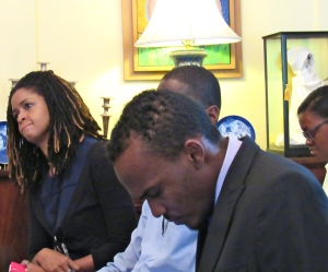 Yolande Gyles Levy (left) and Abka Fitz-Henley (foreground) at a British High Commission press briefing earlier this year. (My photo