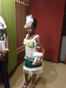 A fabulous fashion made entirely from recycled materials went on show at last week's Ja REEACH Youth Climate Change Conference. (Photo courtesy of Dr. Denise Herbol).
