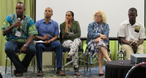 Susan Otuokon (center) participates in an all-Jamaican panel at the BirdsCaribbean 20th International Meeting on July 25, 2015 in Kingston. (My photo)