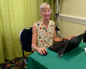 Conservationist Wendy Lee at the BirdsCaribbean 20th International Meeting in Kingston in July. (My photo)