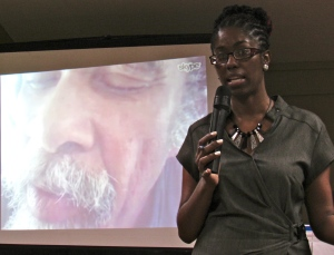 Panos Caribbean's Indi McLymont Lafayette moderates a discussion with St. Lucian poet Kendel Hippolyte via Skype. (My photo)