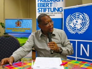 Clifford Mahlung, one of Jamaica's climate negotiators, makes a point at the workshop. (My photo)