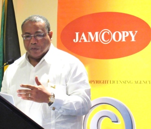 Minister Anthony Hylton says his ministry is seeking to engage the public on intellectual property rights issues. (My photo)