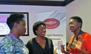 """Three """"bookish"""" women"""": (l-r) Latoya West-Blackwood, who heads the Book Industry Association of Jamaica and her own digital publishing company iPublish Jamaica; publicist Ruth Chisholm; and Tanya Batson-Savage of Blue Moon Publishing. (My photo)"""