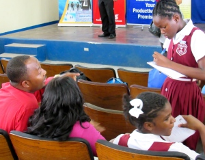 The team from Kellits High School in Clarendon throw out some ideas. (My photo)