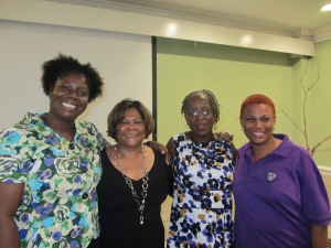 Working for women: WROC co-founder Linnette Vassell (2nd right) with colleagues in the 51% Coalition Nadeen Spence, Marcia Forbes and Taitu Heron. (My photo)
