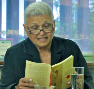 """Pamela Mordecai reading from her book """"Subversive Sonnets"""" at Bookland in Kingston last year. (My photo)"""