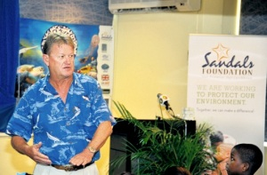 Environmentalist Guy Harvey speaking at the launch of the Sandals Foundation and Guy Harvey 'Save our Seas' programme recently at Beaches Ocho Rios, St Ann. (Photo: Jamaica Observer)