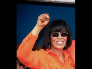 "Prime Minister Portia Simpson Miller has recovered from her laryngitis and addressed a rally in Westmoreland - ""PNP country."" (Photo: Gleaner)"