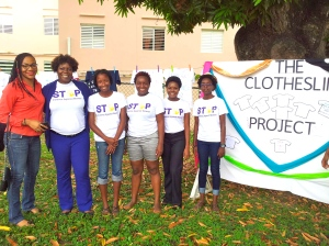 A photo-op with a few of the organizers and participants in the project, including Alexia McFee of WE-Change (extreme left) and Nadeen Spence of Mary Seacole Hall/Women's Leadership Initiative (second left). My photo