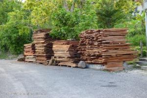 Cedar planks on roadside, St. Mary. (Photo: Wendy Lee)