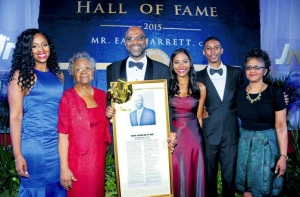 Earl Jarrett and his family after being inducted into the PSOJ Hall of Fame last week. (Photo: Jamaica Observer)