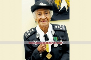 Nurse Marie Clemetson of the Order of St. John with her Pro Ecclesia et Pontifice medal.
