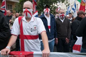 The extreme right-wing, anti-immigrant English Defence League use the English flag (St. George's Cross) in all their demonstrations. (Photo: David Hoffman)