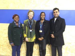 Caribbean youth posing at COP21 with Mary Robinson, former UN Human Rights Commissioner and a member of The Elders, who now leads a foundation dedicated to climate justice. (Photo: Ayesha Constable/Twitter)