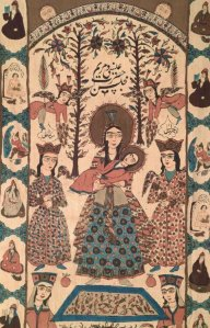 "A Persian textile design depicting the Virgin Mary and baby Jesus. I follow a nice account called ""Iran Style."""