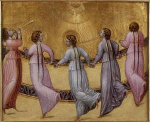 "There is the daily beautiful art and poetry from writer/novelist Rabih Alemeddine. Here is ""Giovanni di Paolo, Five Angels Dancing Before the Sun, ca. 1430 / 1435."""