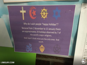 "And religiously speaking, here's a post by Al Jazeera journalist Femi Oke. Let's put the holidays in perspective. That's why we often say, ""Happy holidays"" - it makes more sense!"