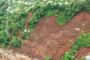 A huge landslide in Dominica.