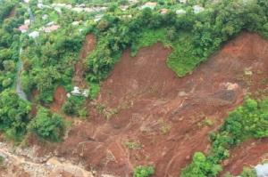 A huge landslide in Dominica.