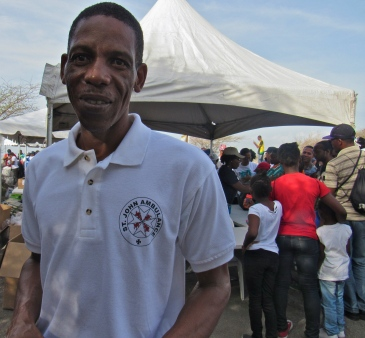 A member of the team of St. John Jamaica volunteers, on duty at the Coastal Clean Up Day at Fort Rocky in September. (My photo)