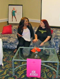 Founder of Colour Pink Jessica Burton and I, chatting on the sofa.