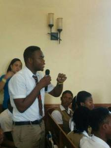 A student makes a point at an International Anti-Corruption Day event in Montego Bay in December. (Photo: OCG Jamaica/Facebook)