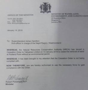The Enforcement Order signed by Minister Pickersgill.