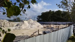 Some of the sand waiting to be taken away. (Photo: Negril Chamber of Commerce)