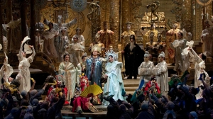"The final scene of ""Turandot,"" where the princess is actually smiling. This gives you a little taste of the lavish production."