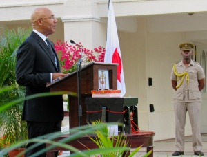 Jamaica's Governor General Sir Patrick Allen speaks at the donation ceremony at King's House on January 20. (My photo)