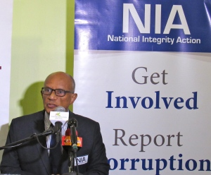 Executive Director of National Integrity Action Professor Trevor Munroe at today's press briefing. NIA  celebrated its fourth anniversary on World Anti-Corruption Day in December, 2015, and became a National Chapter of Transparency International on 15th March, 2015. (My photo)
