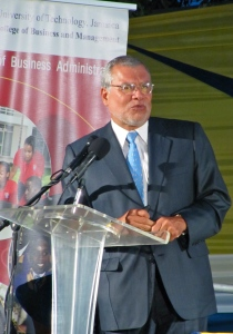 The Chairman of Transparency International (TI) José Carlos Ugaz visited Jamaica last year. Here he speaks at a major event at the University of Technology in March. NIA is the Jamaican Chapter of TI. (My photo)