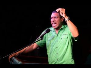 A rather good photo of Opposition Leader Andrew Holness at a party rally. (Jermaine Barnaby/Gleaner)