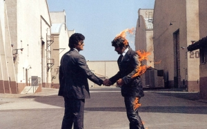 """Wish You Were Here."" Pink Floyd were famous for their avant-garde album covers."
