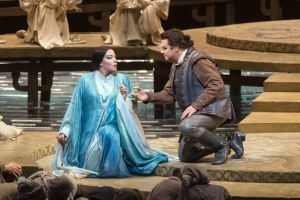 "The ""stranger"" who guesses the riddles (Marco Berti) is getting the better of Turandot (Nina Stemme) in this scene."