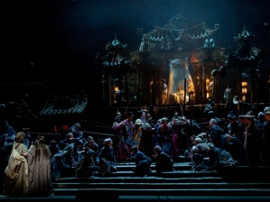 In Act 1, Turandot appears high above the crowd in her lighted palace. A beautiful scene.