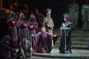 "Liu (Anita Hartig) sings ""Tu che di gel sei cinta"" (You Who Are Enclosed by Ice) while Turandot watches unmoved."