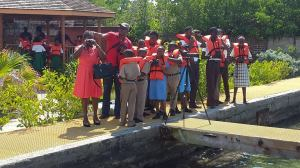 High school students engaged in some birdwatching activities sponsored by the National Environment and Planning Agency (NEPA) at the Port Royal Marine Laboratory today. (Photo: NEPA)